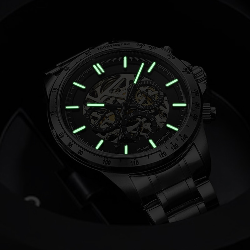 AILANG New Luminous Men's Business 30M Life Waterproof Automatic Men Watch Mechanical Stainless Steel Strap Watches 8827B enlarge