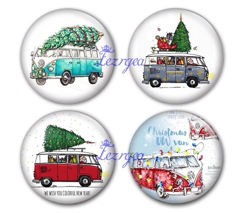Cabujón de cristal de la furgoneta de Navidad VW, cabujón de cristal redondo de la foto del expreso de la Navidad