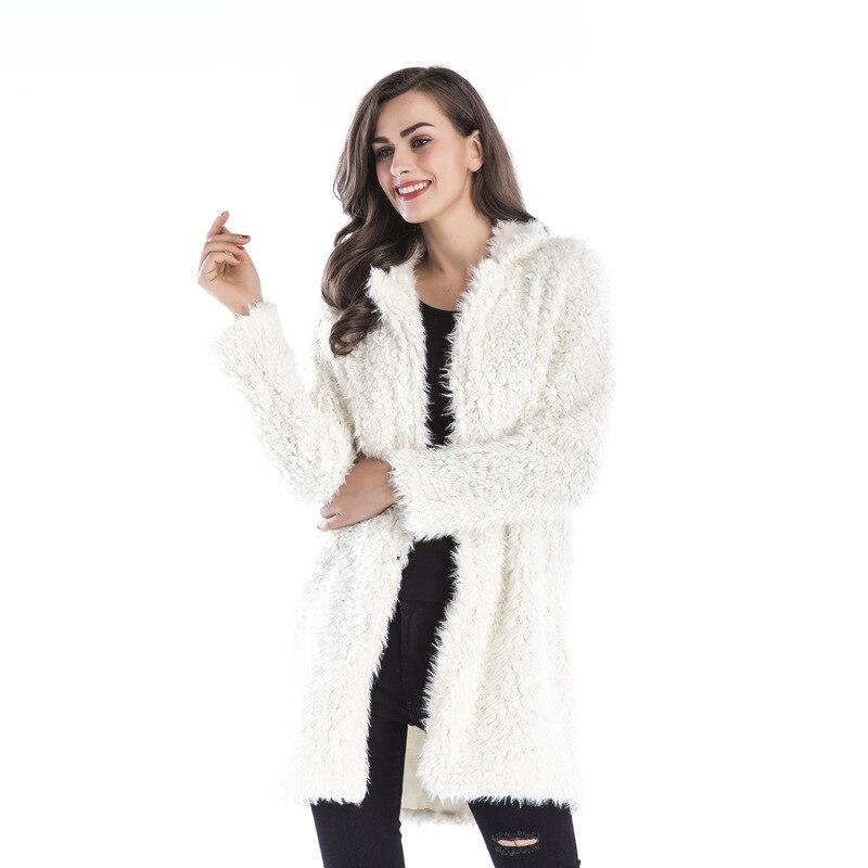2020 Vogue Autumn Winter White Elegant Medium Length Cardigan Coat Outerwear Lapel Long Sleeve Casual Loose Faux Fur Outerwear