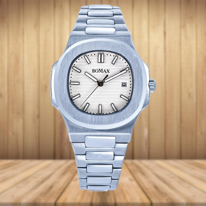 Reloj para hombre de 41MM movimiento automático de bobinado NAUTILUS esfera blanca caja de acero inoxidable pulsera calendario luminoso K4