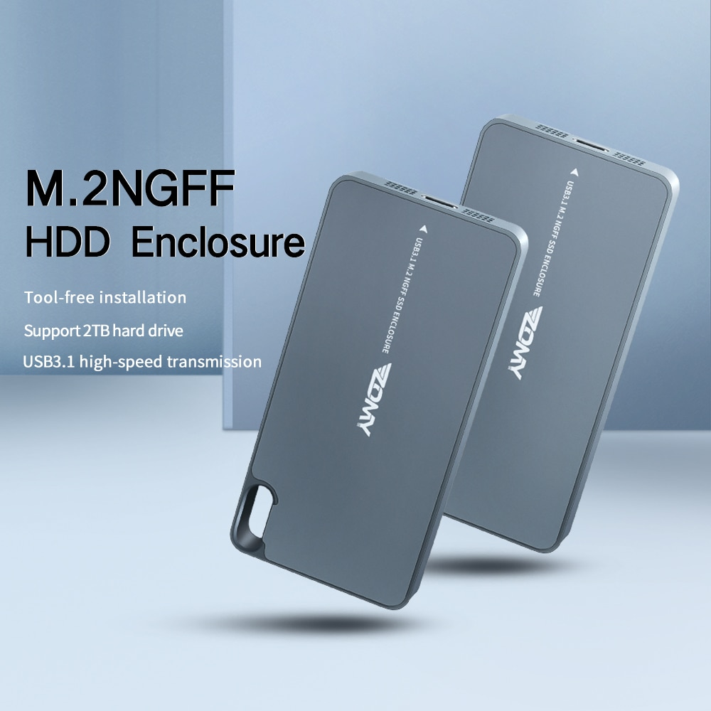 Zomy M.2 SSD Case NGFF To USB 3.1 Gen2 Adapter Solid State Dirves 10Gbps Portable External Hard Drive Ssd Enclosure Hd Externo