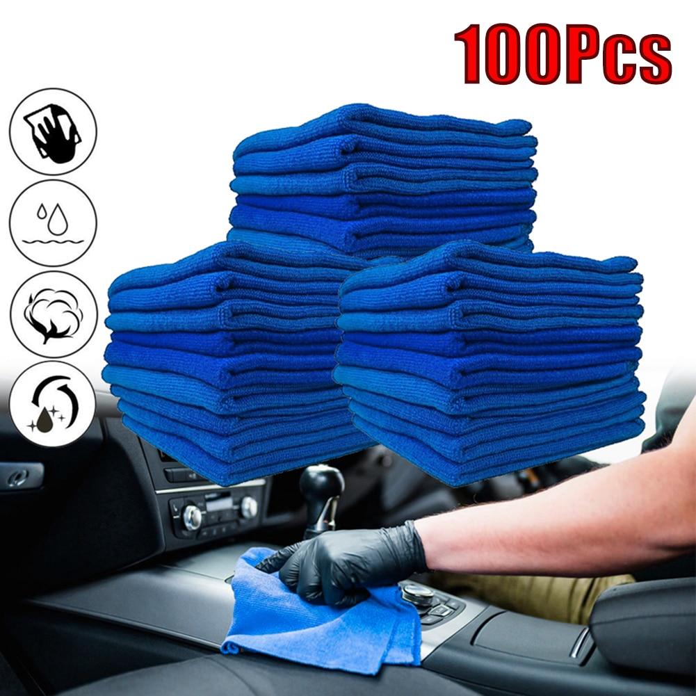 Paquete de 100 paño de limpieza de microfibra azul, toalla sin arañazos, trapo para pulir