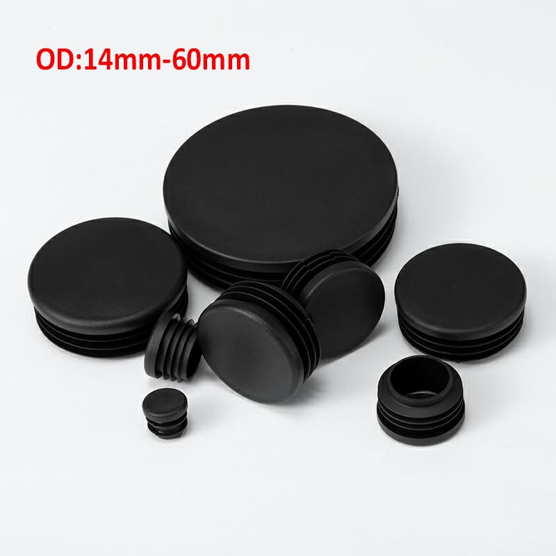 Round Tube Plugs Plastic Blanking End Caps Black Insert Stopper For Chair Leg Pipe 14mm-60mm