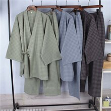 Style japonais pyjamas coton lin rayure peignoir Homewear sommeil Yukata pour adulte été Robe mince vêtements pantalon ensemble