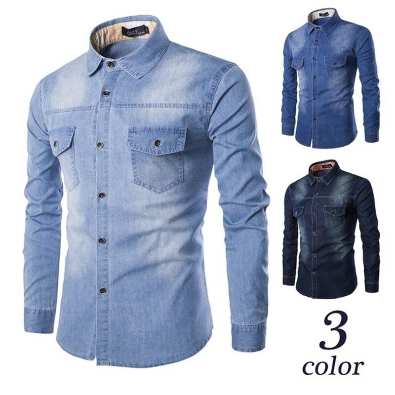 ZOGAA Men Long Sleeve Denim Shirt Mens Casual Dress Male Jean Shirts High Quality Street Wearing Hot Sale 2019 mens shirts