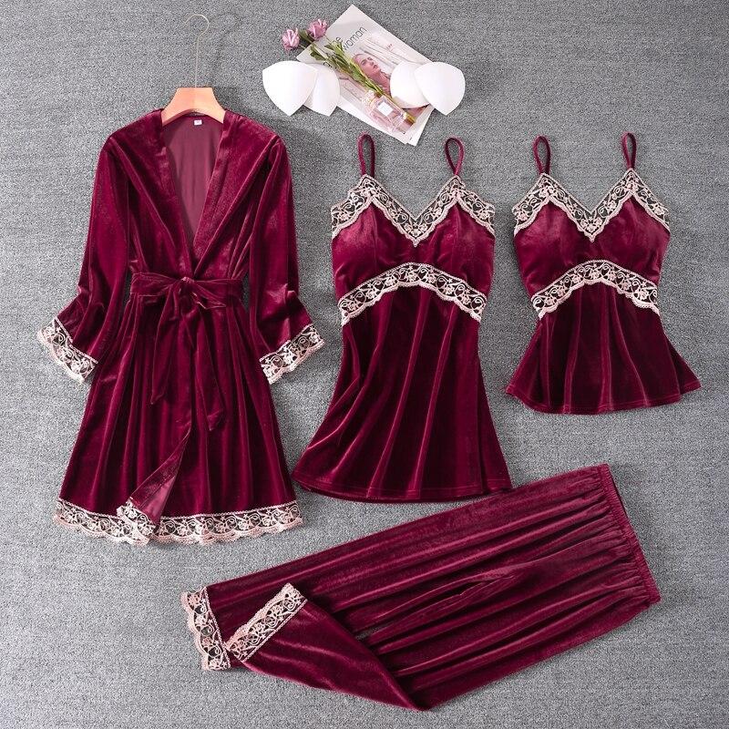 4 قطعة رداء البدلة مثير السيدات كيمونو ثوب الحمام 2020 شتاء جديد ملابس خاصة ثوب النوم قطيفة ناعمة ثوب النوم الحميمة الملابس الداخلية