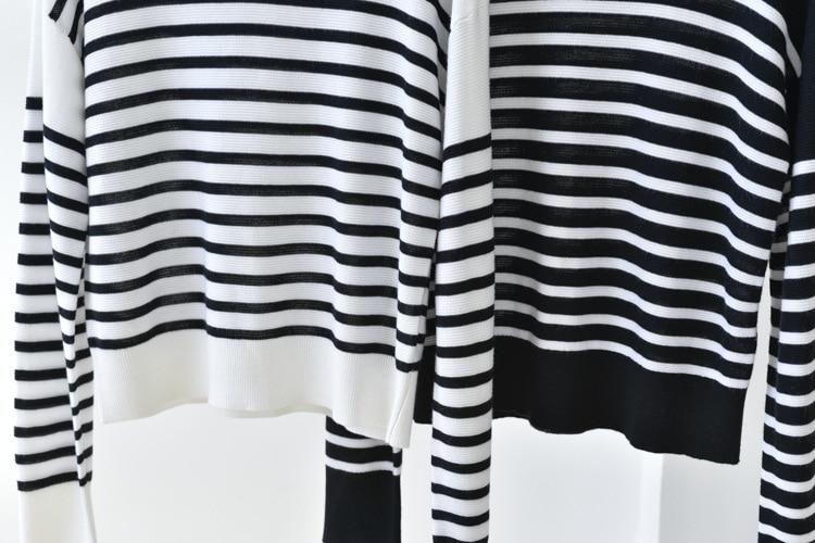 SHUCHAN 30% Silk 10% Wool 10% Cashmere Striped Pullover Sweater Women  Spring/Autumn Thin (Summer) NEW 2021 enlarge