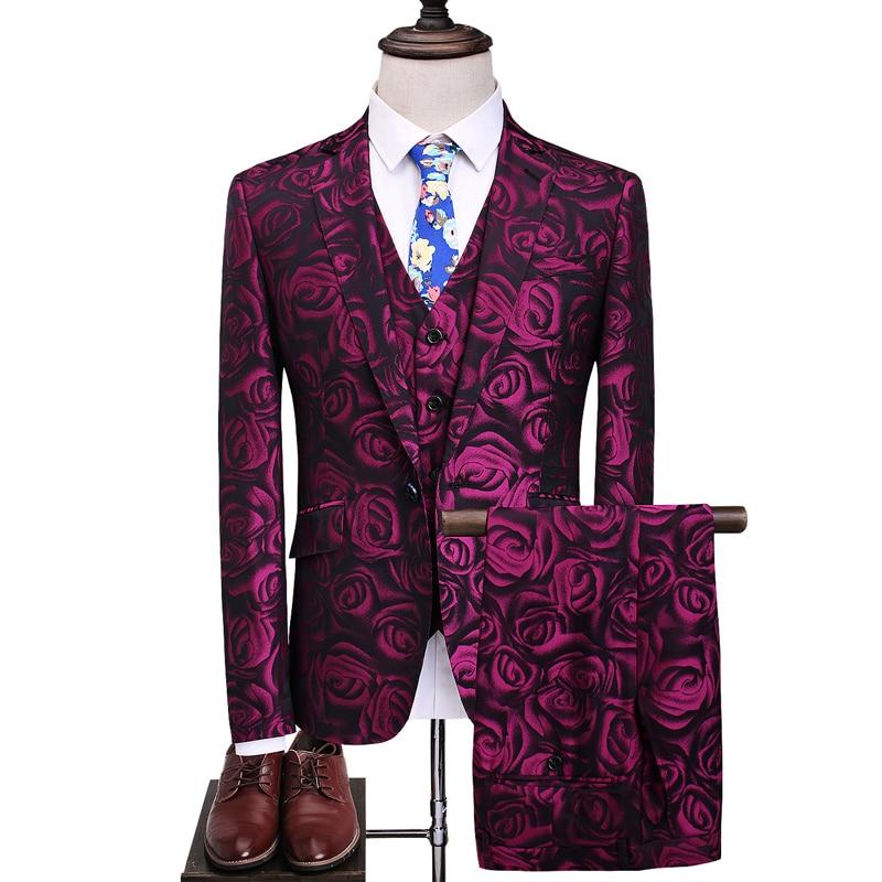(سترة سترة السراويل) جديد روز الأحمر الذكور دعوى العريس الرسمي رجل الدعاوى ل الزفاف أفضل الرجال سليم صالح العريس البدلات للرجل S-5Xl
