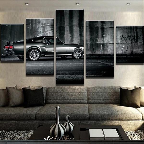 ¡Oferta! 5 piezas de pintura al óleo para decoración del hogar, decoraciones de pared artísticas, lienzo, coche Ford Mustang