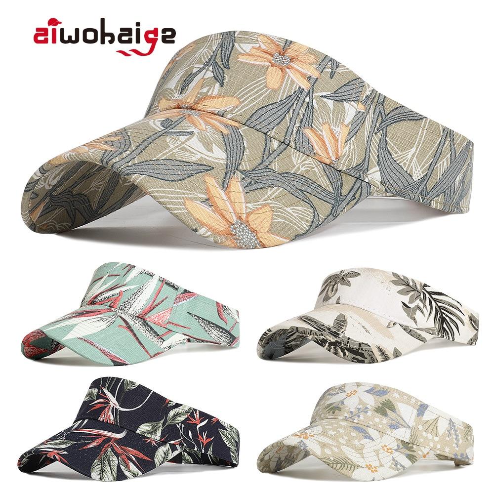 Nuevo verano Unisex parejas vacío Top gorra de béisbol estampado Floral gorro de sol casual Visor gorro primavera otoño ajustable gafas de sol playa