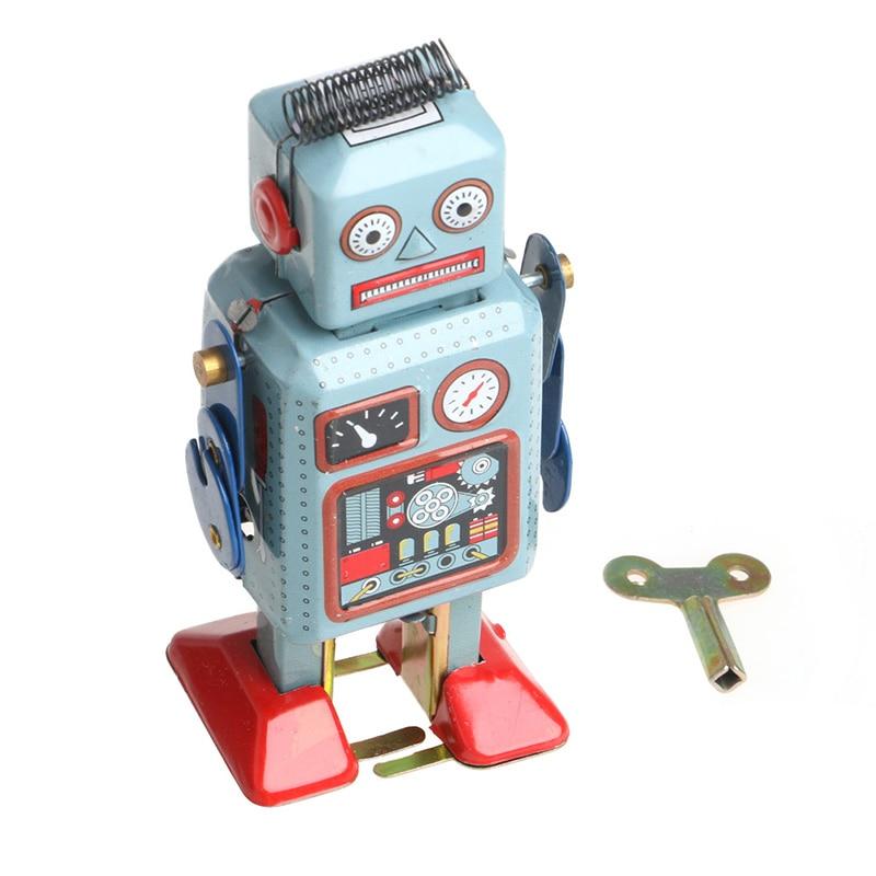 Robot de lata con cuerda mecánica Vintage, juguete para niños, colección de...