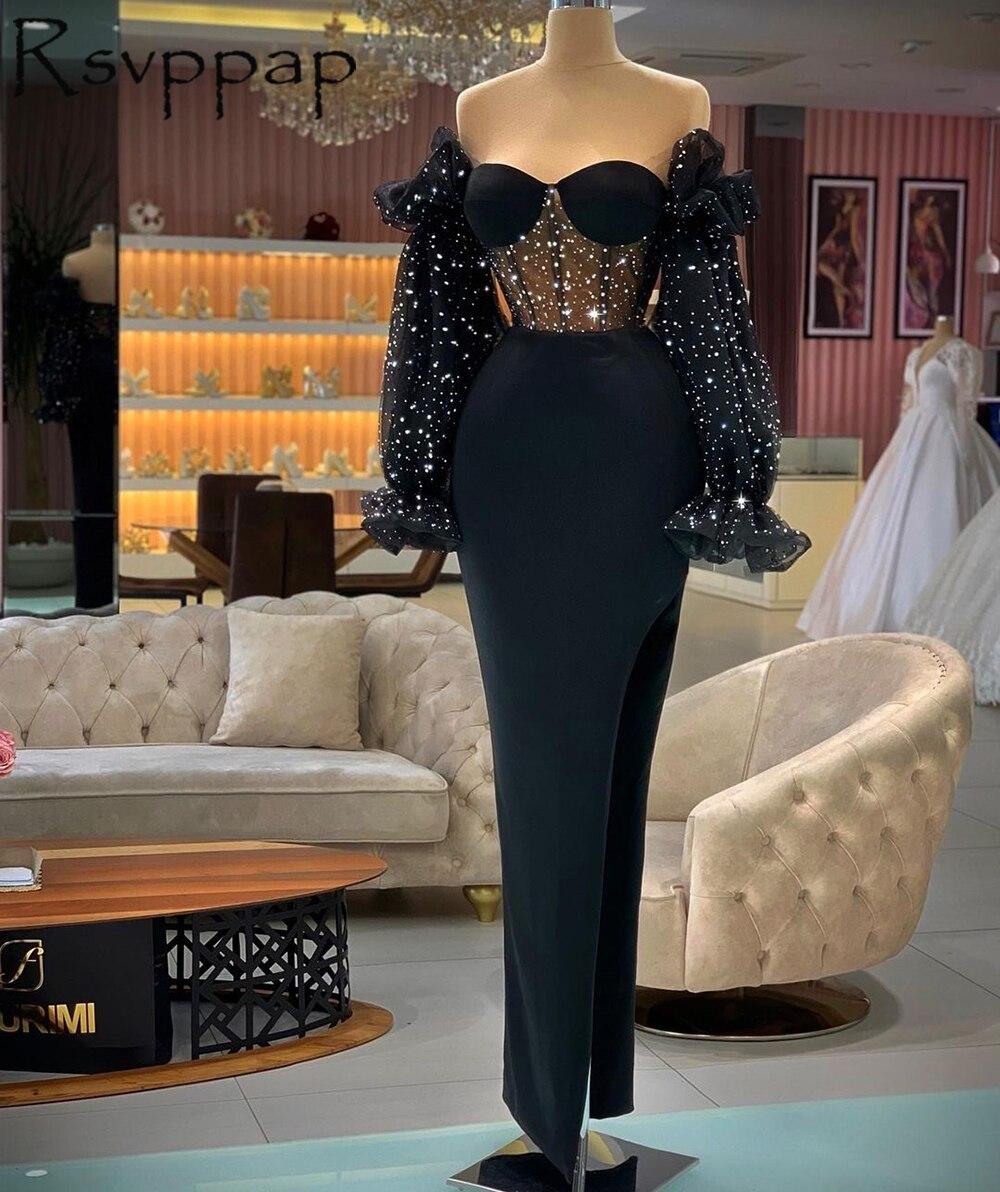 فساتين سهرة طويلة مستقيمة باللون الأسود بتصميم عربي لعام 2021 مزينة بالترتر سباركلي بأكمام طويلة وفتحة عالية من الساتان للنساء فساتين رسمية