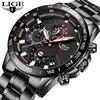 LIGE – montre en acier inoxydable pour hommes marque de luxe Sport chronographe Quartz noir 2019
