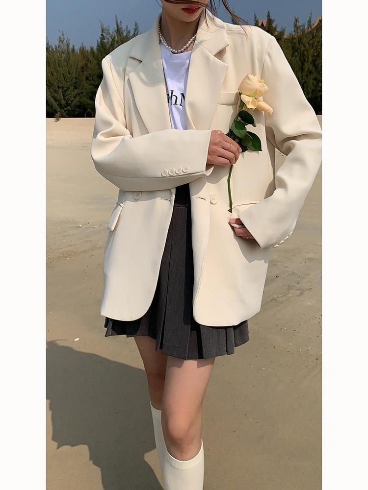 Milky White Suit Coat Women's Spring And Autumn 2021 New High-level Design Sense Korean Casual Suit