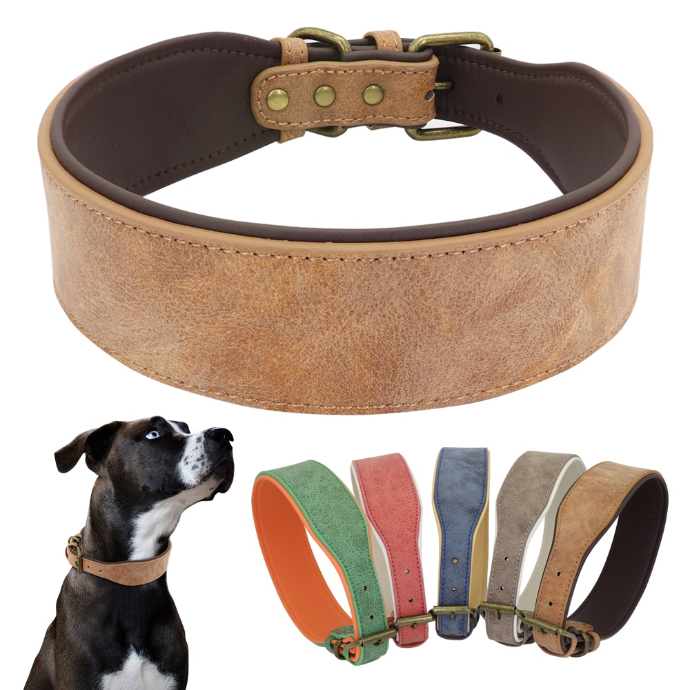Wide Leather Dog Collar Large Soft Padded Pet Dog Collars Perro For Medium Large Dogs Pitbull German Shepherd Bulldog XL 2XL