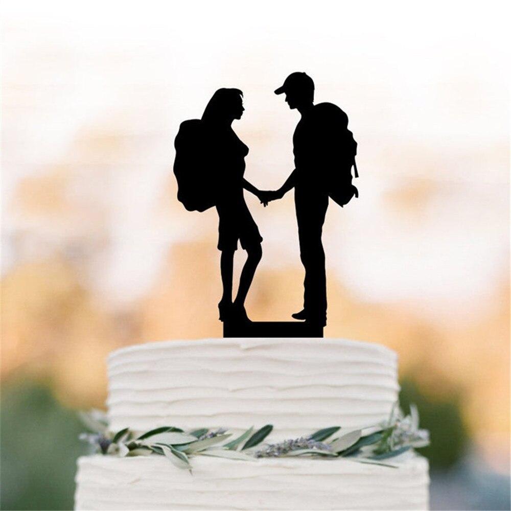 Turystyka para ozdoba na wierzch tortu plecak sylwetka panna młoda i pan młody ślub na zewnątrz góra topper tort weselny