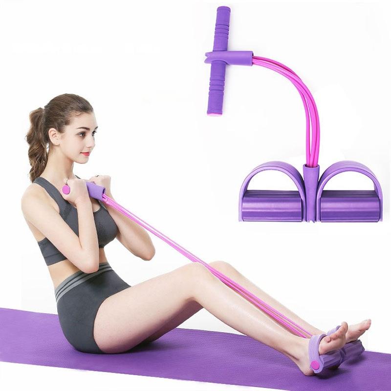 4 röhren Fitness Elastische Pull Seil Fuß Pedal Körper Schlank Yoga Widerstand Bands Expander Muscle Fitness Ausrüstung Widerstand Bands