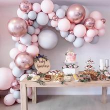 Воздушные шары Макарон-гирлянды, садовая Арка из розового золота, конфетти, шар для свадьбы, воздушный шар, стенд АРКА, декор для дня рождени...