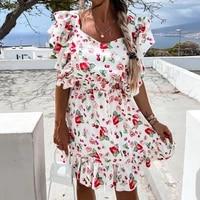 elegant dresses for women butterfly sleeve summer dress 2021 floral print square collar party dress beach boho sundress