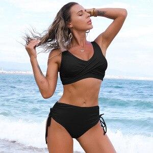 Bikini Swimwear Women's Swimsuit High Waist Two Piece Solid Beachwear Swimming Bathing Suit Surfing Sports Swimsuit Teenage Girl
