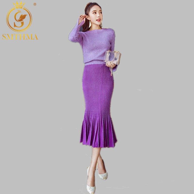 SMTHMA Autumn And Winter Women High Quality Runway Long-sleeve Knitting Sweater+High waist Gradient Color Mermaid 2pcs Skirt Set