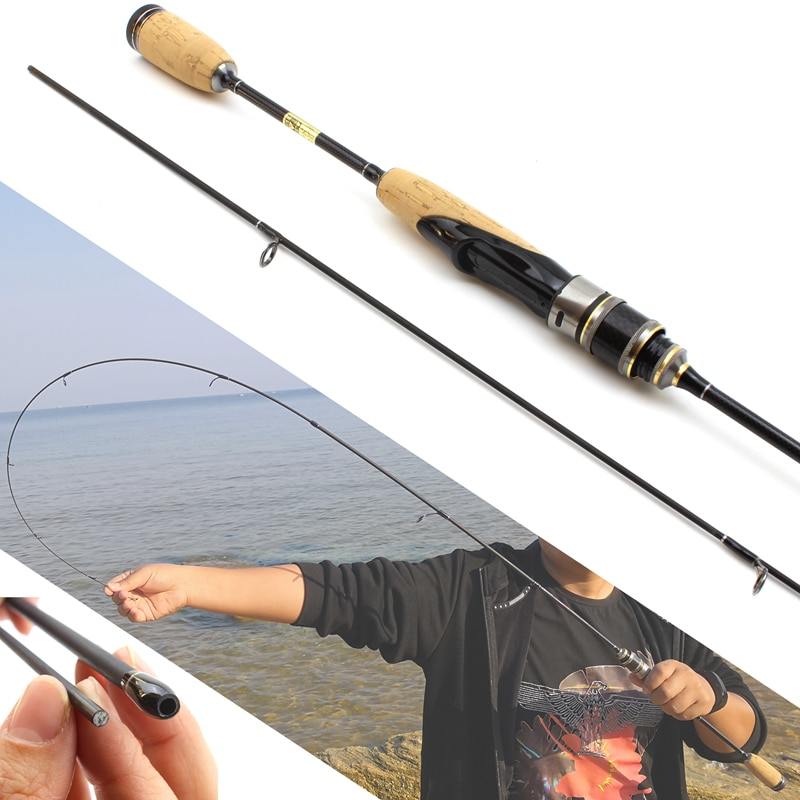 1.68M  ul power wooden handle lure rod Ultra light Spinning fishing rod 2-6g Lure Weight 2 tips Slow speed fishing pole