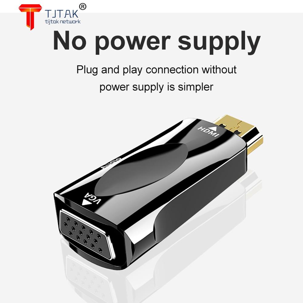 HDMI macho compativel para VGA femea adaptador conversor de cabo de audio...