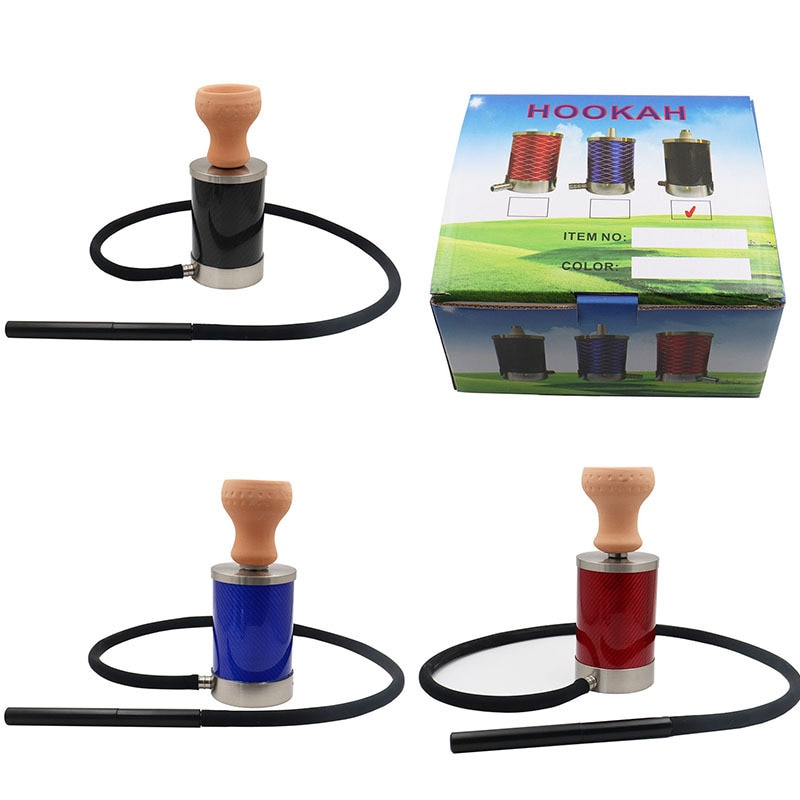 New product creative portable carbon fiber hookah set silicone long hose red clay bowl charcoal clip hookah accessories enlarge