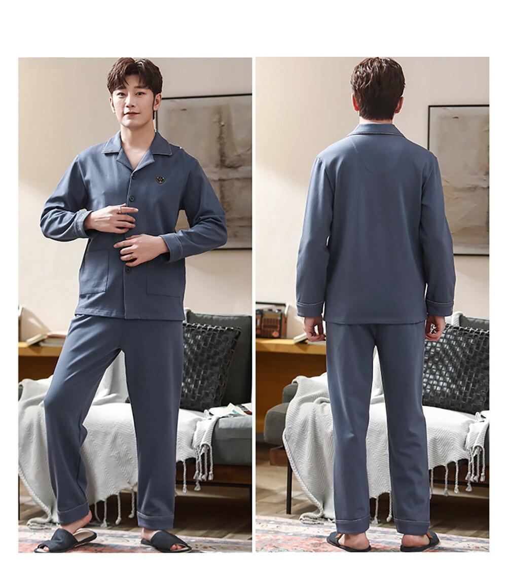 100% 25 хлопок мужчины% 27 пижама комплекты весна осень однотонная пижама большие размеры повседневная одежда одежда для сна гостиная комплект простой удобный дом одежда