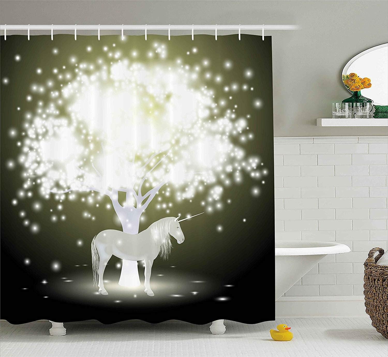 Magic Legendary unicornio caballo bajo árbol luminoso con diseño de Flash de fantasía humana dorado y Hunter verde largas cortinas de Ducha