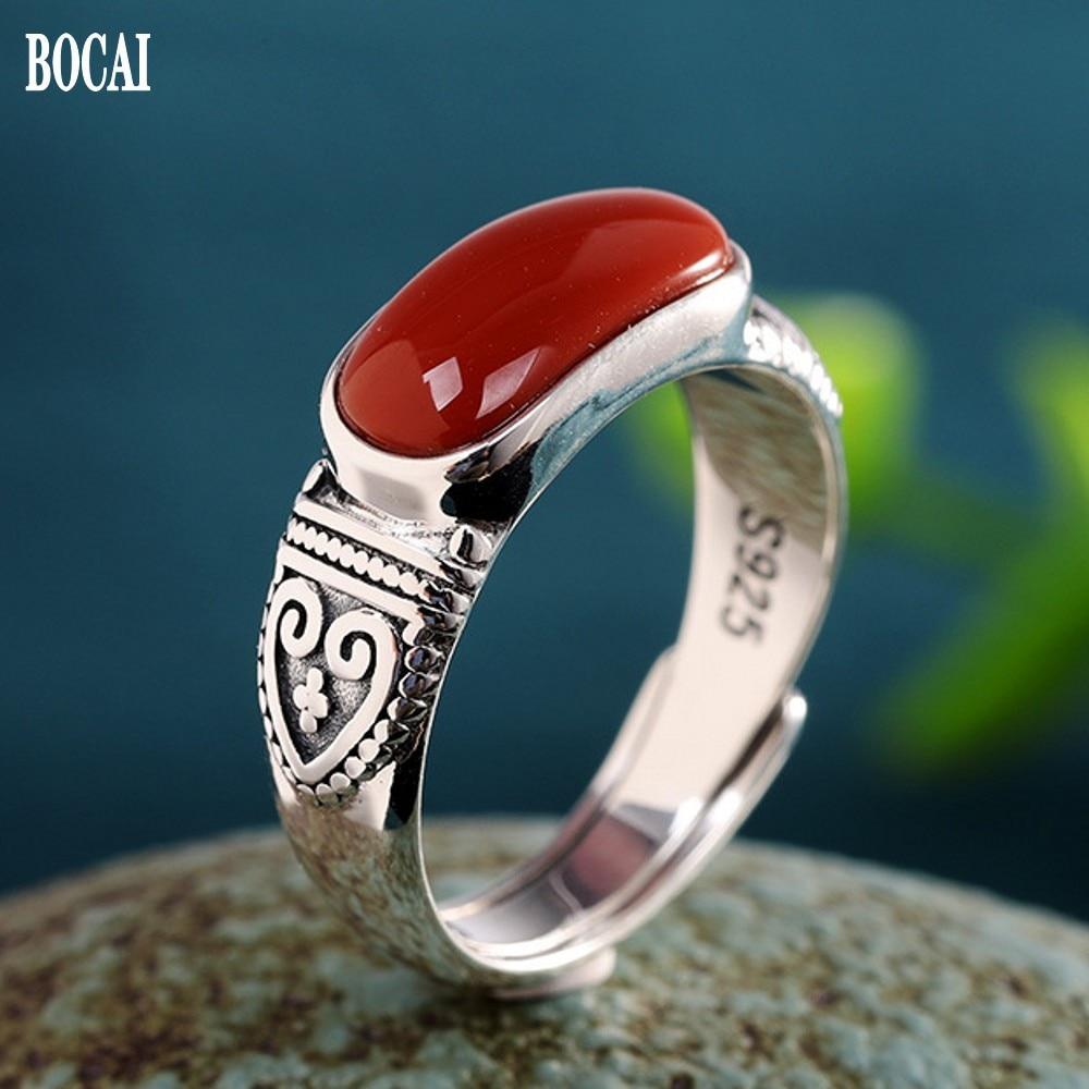 BOCAI-خاتم من الفضة الخالصة s925 للنساء ، إكسسوارات جديدة ، عقيق أحمر ، خاتم من الالمونيوم ، بسيط وسخي ، مفتوح ، عصري