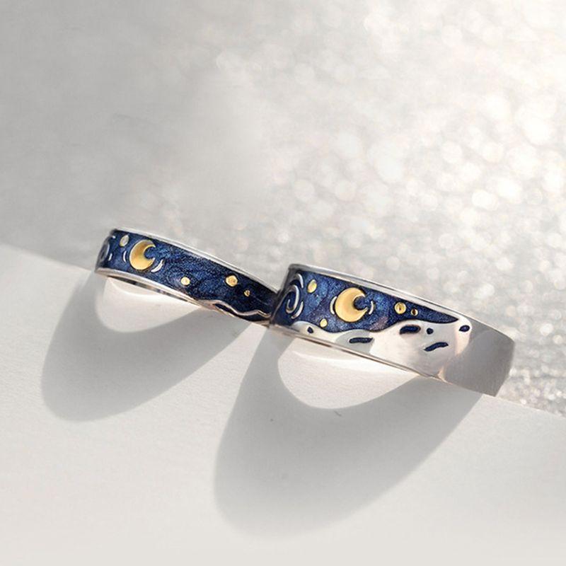S925 Ван Гог звездное небо Открытые Кольца для влюбленных романтические парные ювелирные изделия кольцо