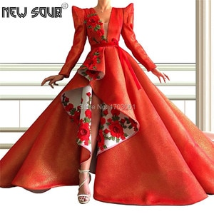 High Low Red Shiny Evening Dresses Arabic Pattern 2019 Dubai Arabic Prom Dress Celebrity Party Gowns Abendkleider Robe De Soiree