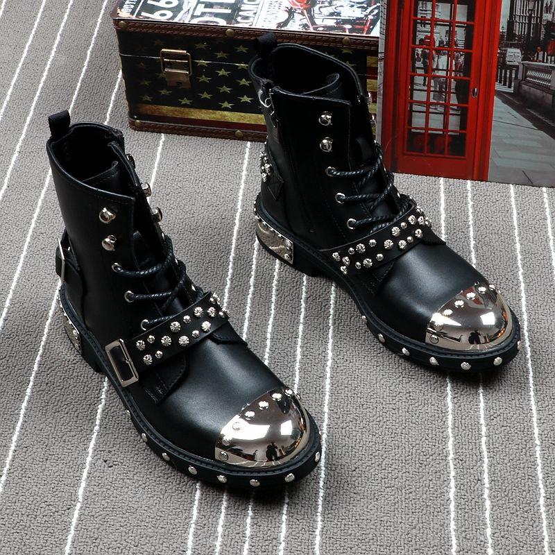 أحذية جلدية للرجال ، نمط الشرير ، برشام معدني للدراجات النارية ، مارتن ، أزياء عالية ، أحذية قصيرة ، جلد طبيعي ، لفصلي الربيع والصيف