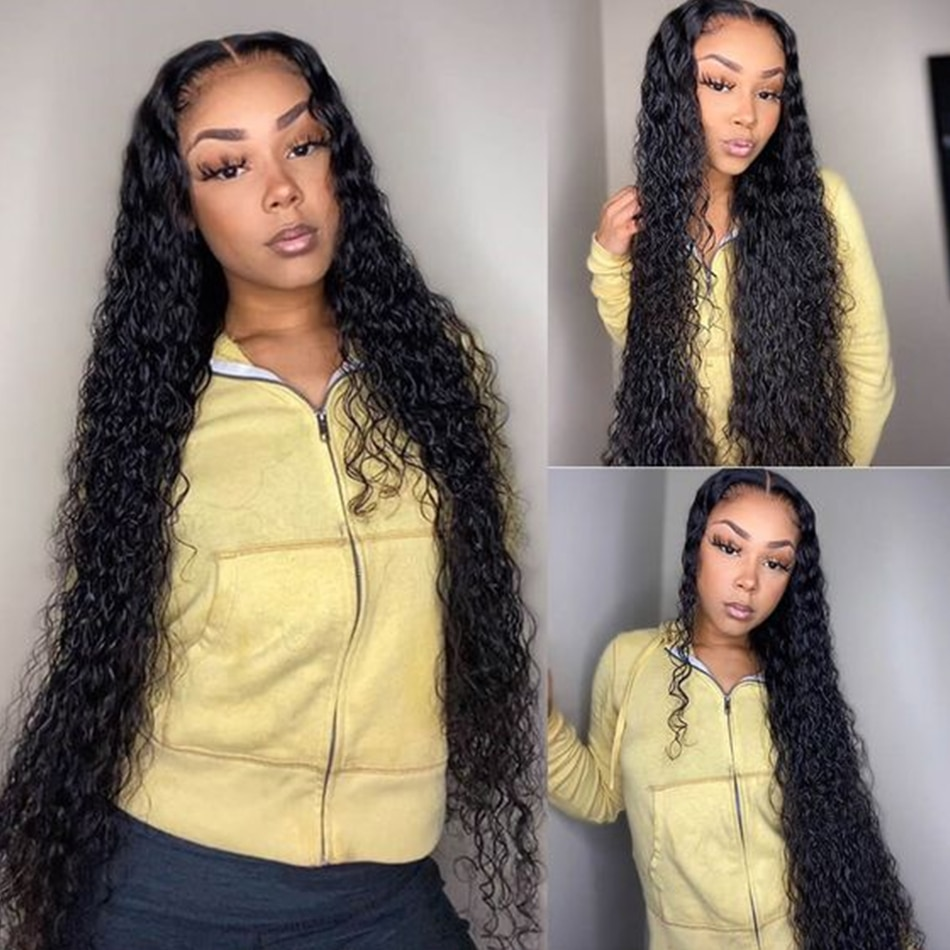 Water Wave Wig 180 Density Transparent Lace Wigs 28 Inch Long T Part Remy Brazilian Wet And Wavy Deep Part Curly Human Hair Wigs