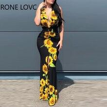 ผู้หญิงลึก V คอ Plunge Sunflower พิมพ์ Maxi ชุด Maxi ชุดเดรสแฟชั่น Chic ชุด