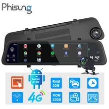 "Phisung 11.66"" 4G dash cam Android 8.1 car mirror dvr camera RAM2G ROM32G GPS Navigation video recorder ADAS WIFI Dual1080P dvrs"