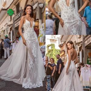 Sexy Mermaid Wedding Dresses With Detachable Train 2020 Lace Applique Backless Trumpet Wedding Gowns Illusion Vestidos De Novia