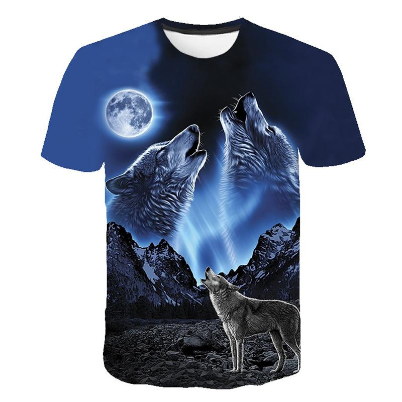 Summer T shirt Men Streetwear Round Neck Short Sleeve Tees Tops Funny Animal Male Clothes Casual Wolf 3D Print Tshirt men t shirt summer casual fashion tops short sleeve round neck tee rope broke risk funny print streetwear harajuku tshirt male