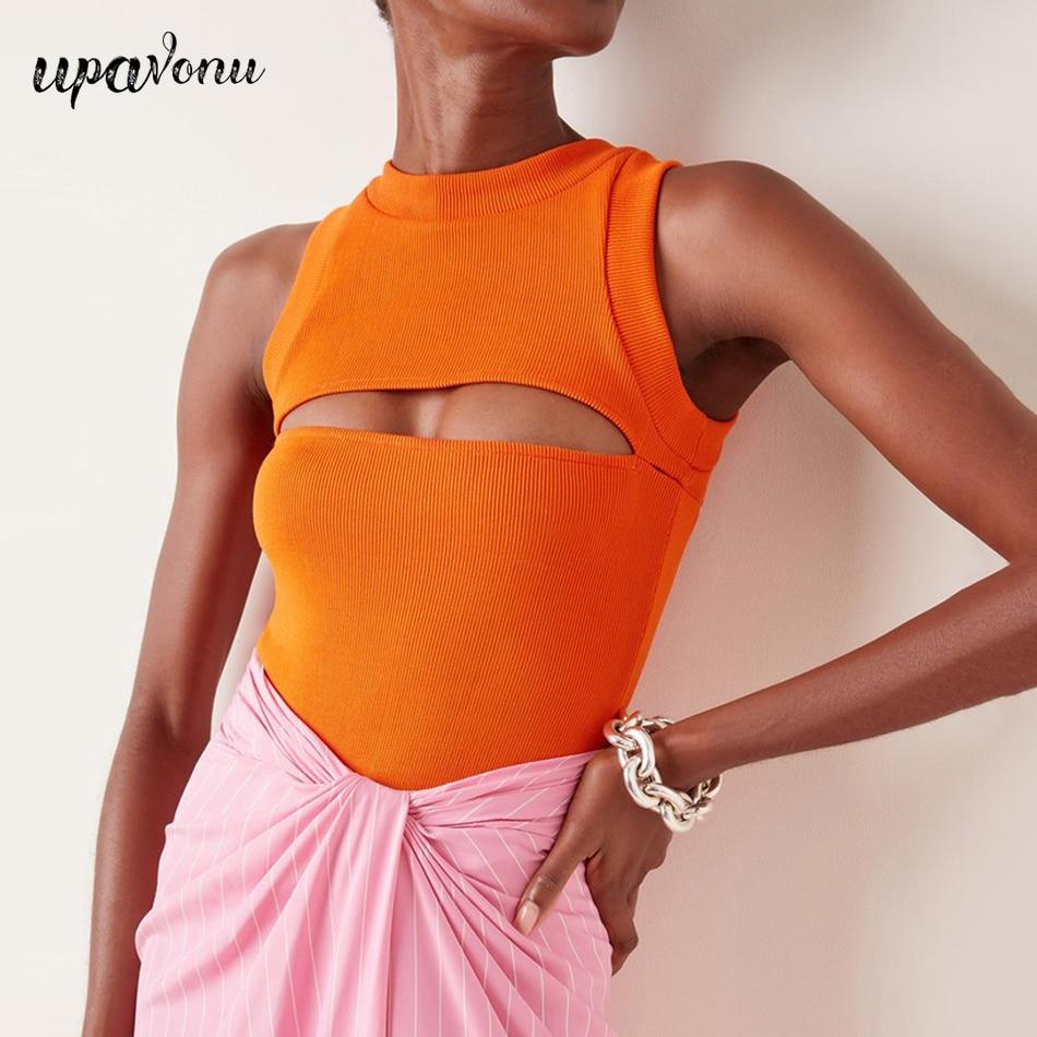 Free Shipping 2021 Women's Summer One-Piece Trouserless Top Orange O-Neck Sleeveless Bodycon Hollow Top Black Sexy Party Top