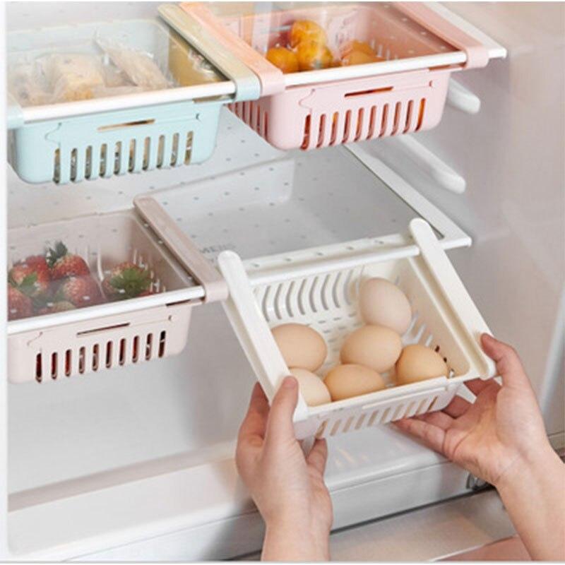Caja de almacenamiento de cocina caja de almacenamiento de alimentos y bebidas estante de almacenamiento para refrigerador caja de drenaje hueco acabado cesta caja almacenamiento