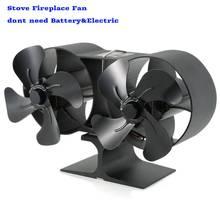 Ecofan ventilateur de cheminée noir silencieux   4/8 lames, alimenté à la chaleur, ventilateur de poêle à bois en grumes, Distribution de chaleur efficace pour la maison