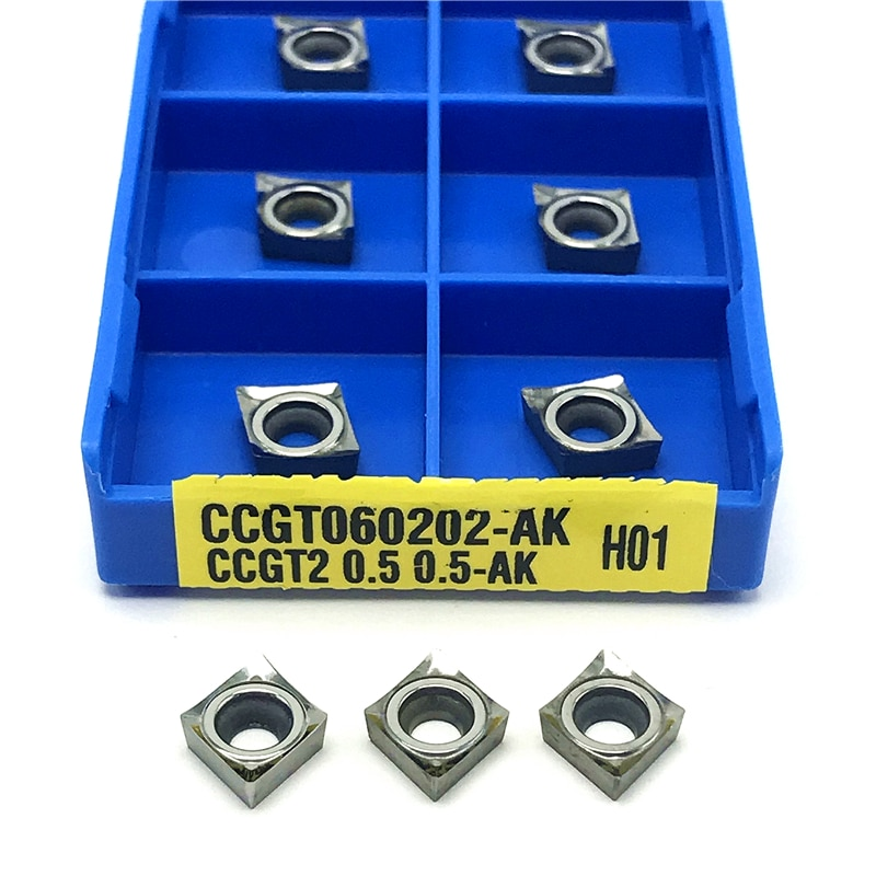 Ferramenta de Torneamento Ferramenta de Corte Alumínio Inserções Carboneto Cnc Ferramenta Torneamento Interno Ccgt 060202 Inserção Ccgt060202 ak H01