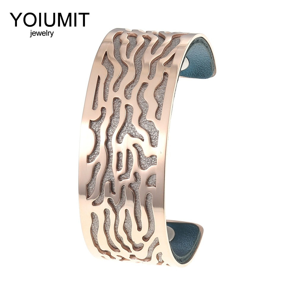 Pulsera de oro rosa Cremo, brazaletes ajustables para mujer, pulseras Manchette de acero inoxidable, pulsera de cuero intercambiable para mujer