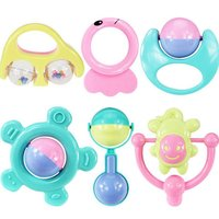 6PCS Set Baby Toys 0-12 Months Rattles Mobile Teethers Educational Toys for Baby Newborn Birth Gifts Baby Comforter Infant Toys
