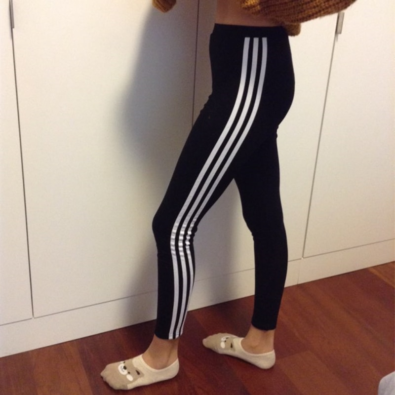2021 Leggings Women Yoga Pants  High Waist Cotton Stretch Fitness Sports Pant For Women Running Striped Trousers
