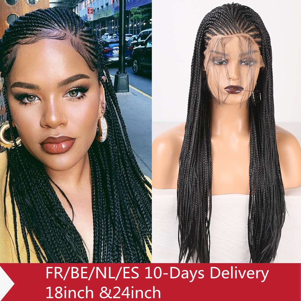 RONGDUOYI Side Part Braided Box Braids Wig Long Black Hair Synthetic Lace Front Wigs for Women Cosplay Lace Wig with Baby Hair