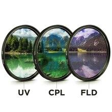 49MM 52MM 55MM 58MM 62MM 67MM 72MM 77MM UV + CPL + FLD 3 en 1 ensemble de filtres dobjectif avec sac pour canon Nikon Sony objectif de caméra