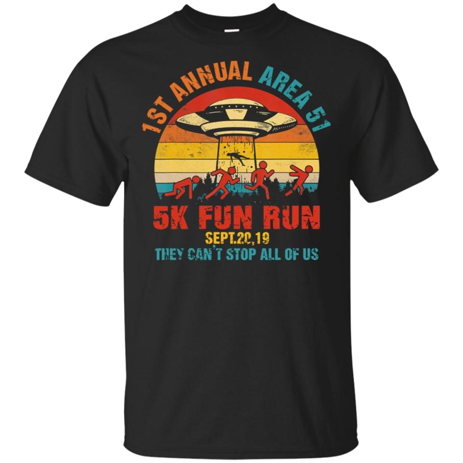 1St Annual Area 51 5K Fun Run Sept 20 Vtg T-Shirt Black-Navy Short Men-Women Retro O Neck Tee Shirt