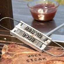 새로운 BBQ 브랜드 인쇄물 55 글자 성격 바베큐 브랜딩 철 나무 손잡이 알파벳 변경 바베큐 도구 마킹 스탬프 가제트